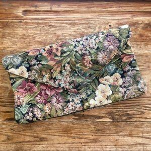 Vintage—Large Envelope Clutch, Floral Upholstery